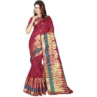 SUDARSHAN BANARASI COTTON SILK SAREE-Multicolor-NCFOD903-MM-Banarasi Cotton Silk