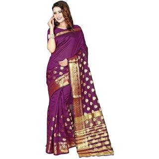 SUDARSHAN BANARASI COTTON SILK SAREE-Purple-NCFOD909-MM-Banarasi Cotton Silk