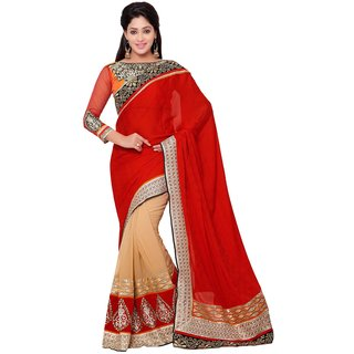 Indian Women red and beige color  silk jacquard party wear saree-Red-INWHT70111-MM-Jacquard