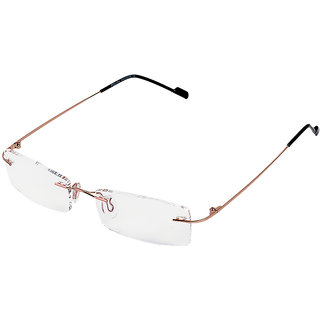 Royal Son Rim Less Rectangle Spectacle Frame For Men and Women (WHAT0815 50Transparent Lens)