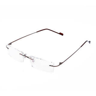 Royal Son Rim Less Rectangle Spectacle Frame For Men and Women (WHAT0820 50Transparent Lens)