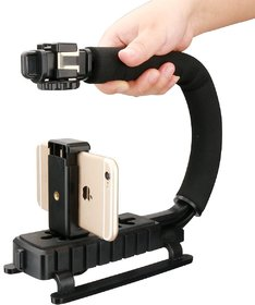 Aeoss Stabilizing Handle Triple 3 Shoe Mounts Video Action Grip Rig for iPhone Mobile Canon Nikon Sony DSLR Camera