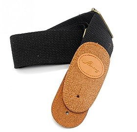 Aeoss Adjustable Guitar Strap for Folk / Acoustic / Electric Guitar Frosted Tip Cotton Material Black