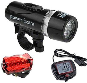 GRV Bicycle Speedometer ,5 Led Mountain Cycling Head Light And Bicycle Rear Light Lamp Combo