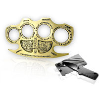 Brass Knuckle Duster Plus Cardsharp Card Knife Combo Pa