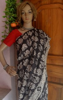 Kalamkari Cotton Silk - Black and White
