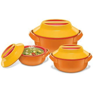 Milton Microwow Plastic Casserole Gift Set 3-Pieces ORANGE