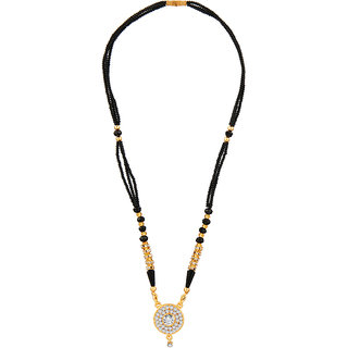 JewelMaze White Austrian Gold Plated Mangalsutra