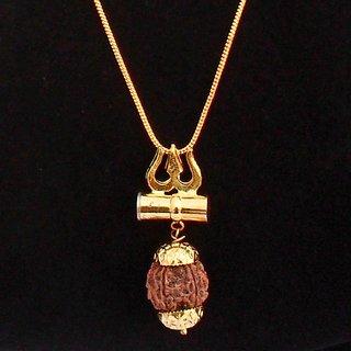 Shiv Shakti Kavach Rudraksha Trishul Damru Locket with chain by Beadworks