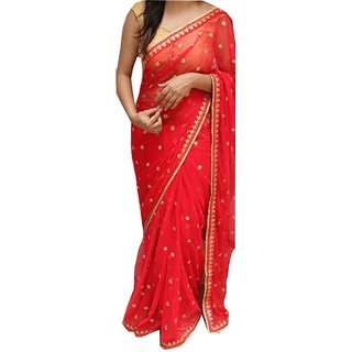Srk Red Colour Georgette Embroidery saree NX256