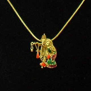 Radha Krishna Gold Plated Religious God Pendant with Chain for Men Women by Beadworks