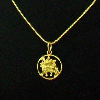 Chain Pendant sherawali maa kali durga maa Gold Plated locket Jewelry Set for womens girls children mens boys