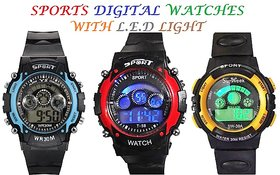Sports Watch Digital With LED Light - 1(Pcs)-(Assorted Colors)