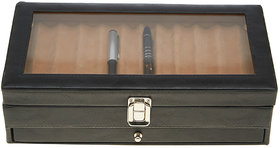 Leather World Stylish Black PU Leather 24 Pen Display Case with Clasp Closure