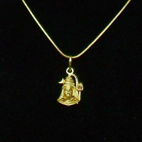 Shiva Gold Plated Religious God Pendant with Chain for Men Women