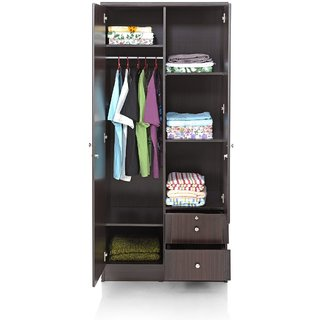 Status Cosmo 2872 2 Door Designer Wardrobe Wenge Colored With Shelves Inside