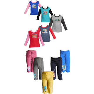 Jisha Fashion (RKGTRK) Tshirt Track pant assorted color (6M to 4 Years) Pack of 5