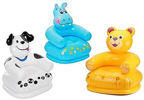 Intex Premium Inflatable Beanless Sofa Chair For Kids 60 Kg,Intex Inflatable Animal Chair For Kids (Age 3-8 Years)-(designs vary)