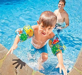 Skywalk Intex Pair Of Inflatable Swim Full Arm Bands With Air Chambers Swimming Aids For 3 - 6 Year