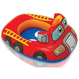 Skywalk Intex Kiddie Inflatable Swim Pool Water Float Ring Cruiser Red Fire Engine Shape