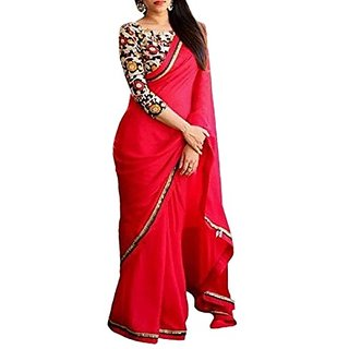 Mastani  Women's Designer Red Georgette Saree With Multicolor Blouse Piece