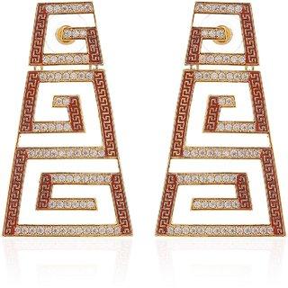 Tistabene Retails Contemporary Orange Enamelled American Diamond Trendy Designer Dangler Earring For WomenGirl(ER-3000)