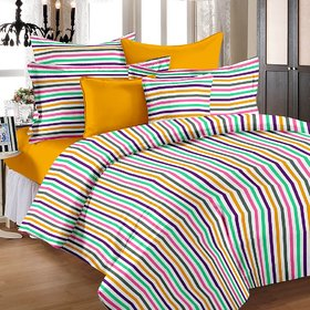 Story @ Home 100% Cotton Multi Candy Stripes Single Bedsheet ( Set Of 2 ) Tr1204