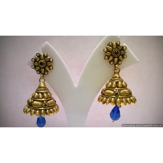 eeb2909b6ae Rich look Antique Style Jhumka with Pearls and ocean blue Crystals Prices  in India- Shopclues- Online Shopping Store