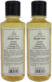 Khadi Pure Herbal Jasmine Massage Oil - 210ml (Set of 2)