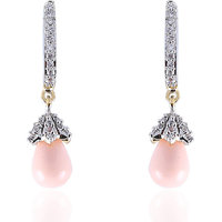 Firstloot Spangled American Diamond Earrings In Baby Pink & White Colour
