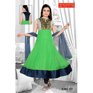 Zorra Georgette Readymade Anarkali Suit 131 Green And Multicolor