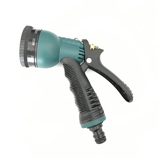 Exclusive Multicolor 8 Pattern Washable Water Spray Gun With Brass Nozzle - Set Of 1