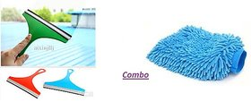 Combo Car Glass Scraper + Microfiber Gloves