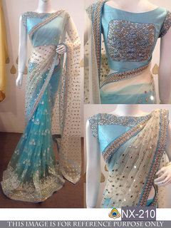 Srk White and Skyblue Colour Nylone Net Embroidered Saree