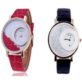 Mxre Red With Black Analog Diamound Latest Designing Stylist Combo Watch For Women