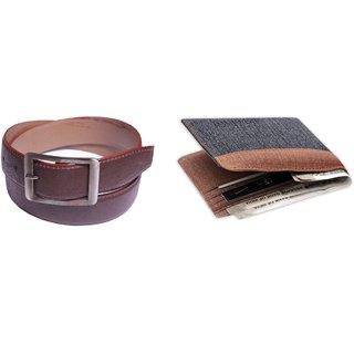 Unique Denim Wallet + Brown Belt Combo