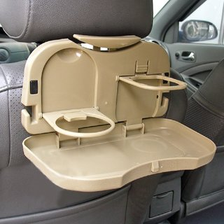 Shopper52 Universal Cream Color Multipurpose Car Back Seat Dining Tray ( Set 1 )