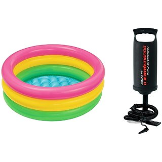 Intex Inflatable Baby Pool Multi Color (2-feet) with Air Pump