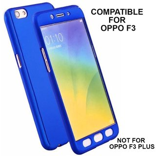 360 Degree Full Body Protection Front Back Cover (iPaky Style) with Tempered Glass for OPPO F3 (Blue) - By MOBIMON