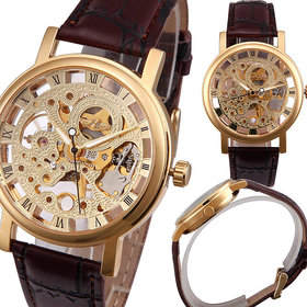 Glory Round Dail Brown Synthetic StrapMens Quartz Watch For Men