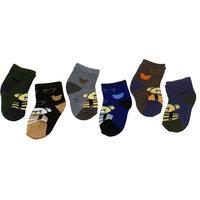 Neska Moda Premium Terry Cotton Ankle Length Multicolor Kids 6 Pair Socks For 0 To 2 Years SK375
