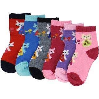 Neska Moda Premium Cotton Ankle Length Multicolor Kids 6 Pair Socks For 3 To 7 Years SK377