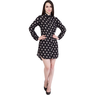 2d14f662066d5c Buy Hive91 Black Long Shirt for Women, Rayon Fabric and Printed ...