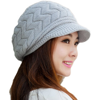Modo Vivendi Women Woolen Winter Double Layer Thermal Knitted Cap ( Grey )
