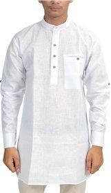Trendy Trotters Men's White Plain Regular Fit Kurta