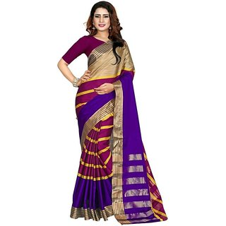 New Maruti Enterprise Purple Cotton Silk Sarees For Womens