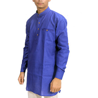 Trendy Trotters Men's Blue Plain Regular Fit Kurta