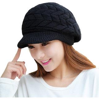 Modo Vivendi Women Woolen Winter Double Layer Thermal Knitted Cap ( Black )