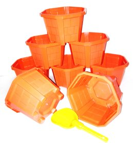 Hexagonal Plant Pots - Plastic Planters, No 2 (Terracotta) Set of 8