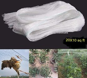 SAHAYA Anti Bird Net 20 FT X 10 FT ( 200 sq.ft) High Quality Nylon net White with 50 pcs Plastic cable Clips Home Garden